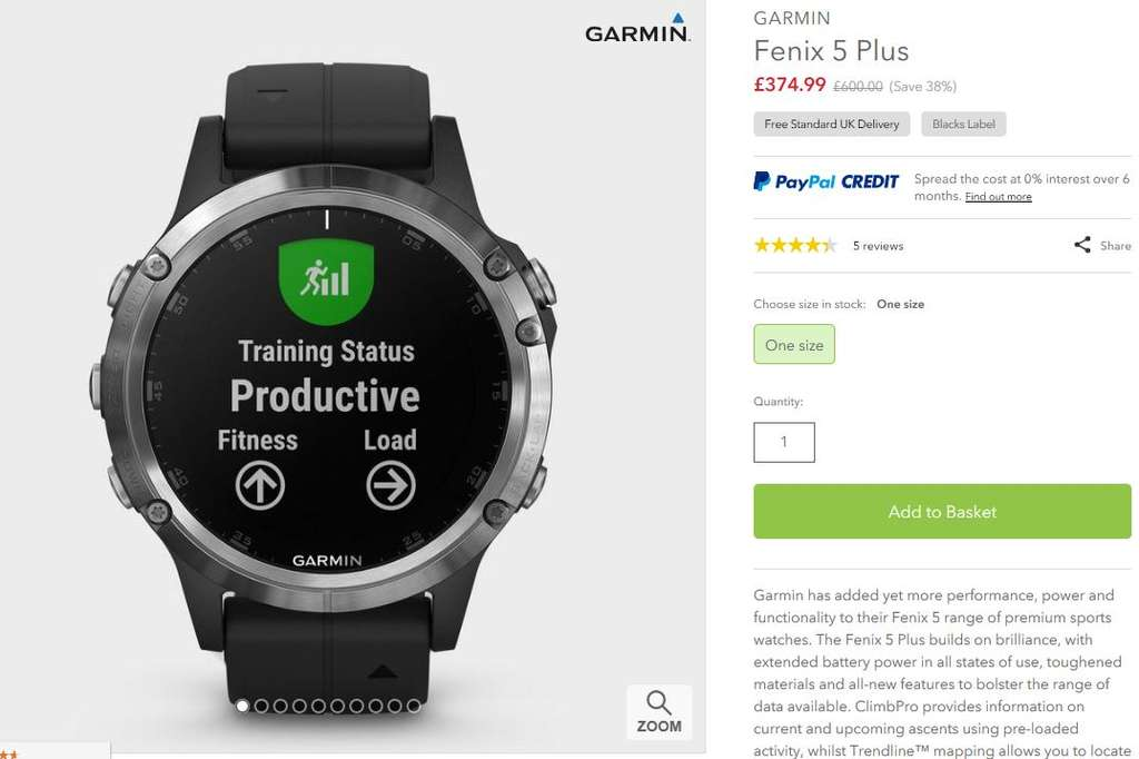 Garmin Fenix 5 Plus reduced from £600 to £374 99 delivered