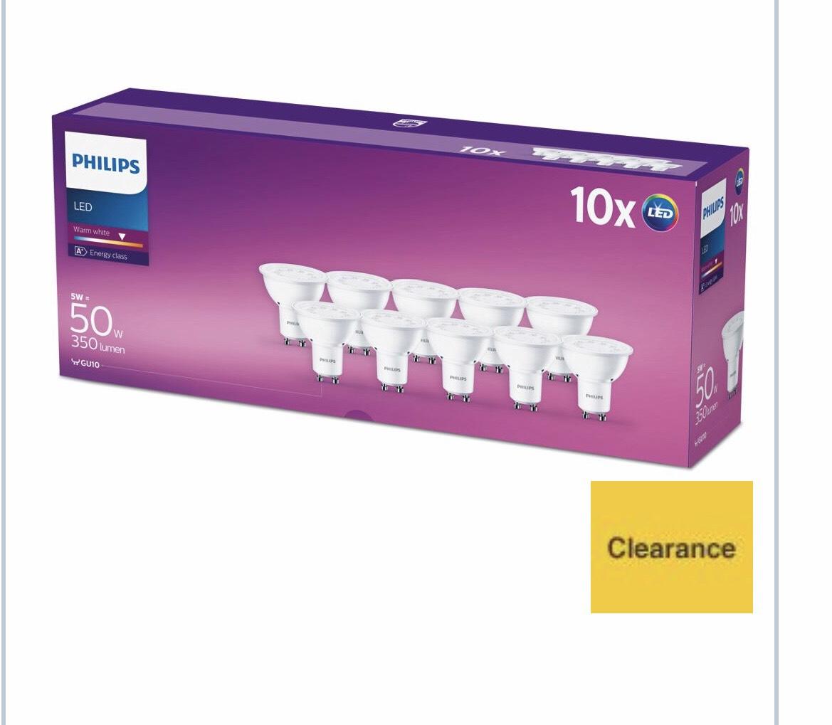 philips led warm white spotlight bulbs 5w gu10 pack of. Black Bedroom Furniture Sets. Home Design Ideas