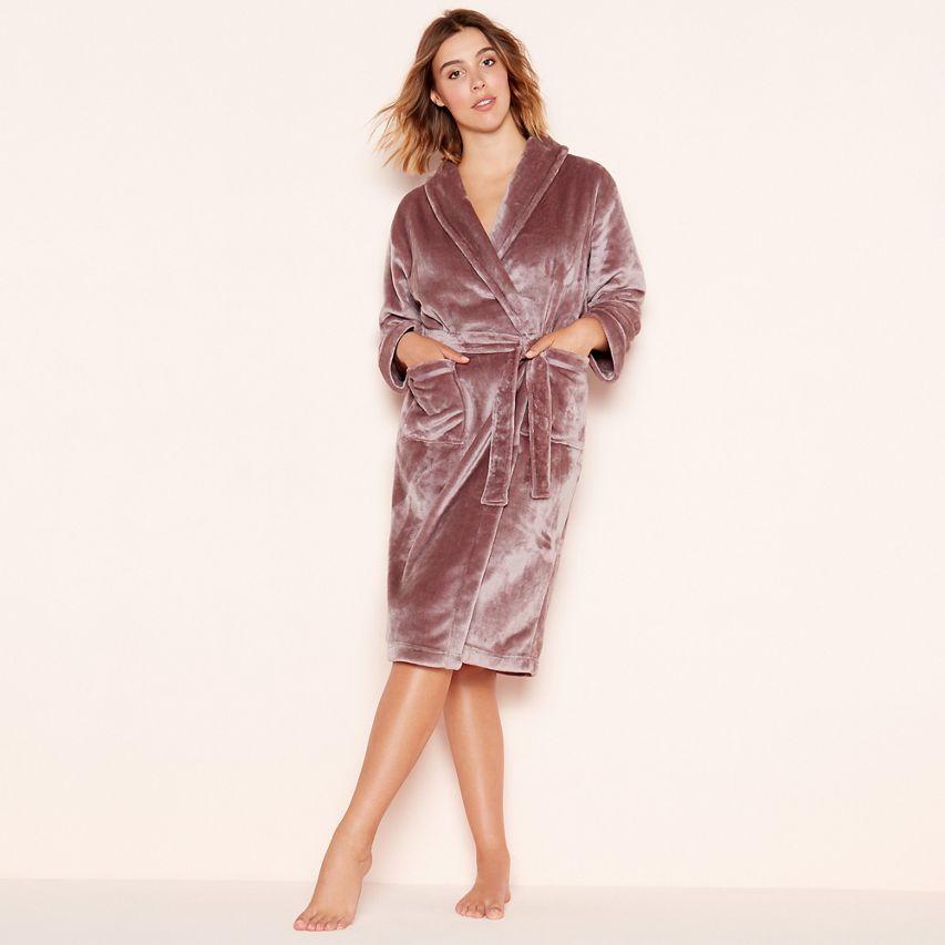 3a2b47ffbc6 Lounge   Sleep - Taupe  Sleek  fleece dressing gown at Debenhams ...