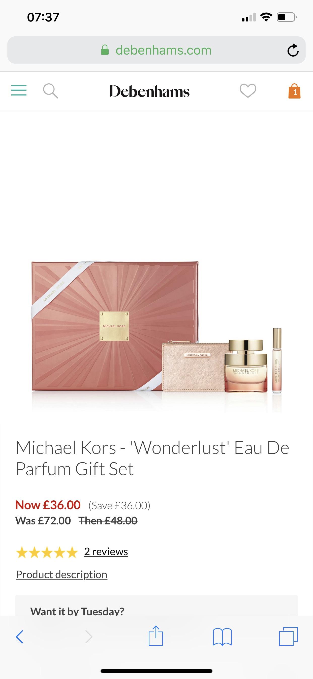 7d8e0cf3622f Michael Kors -  Wonderlust  Eau De Parfum Gift Set 50ml - £36 Debenhams
