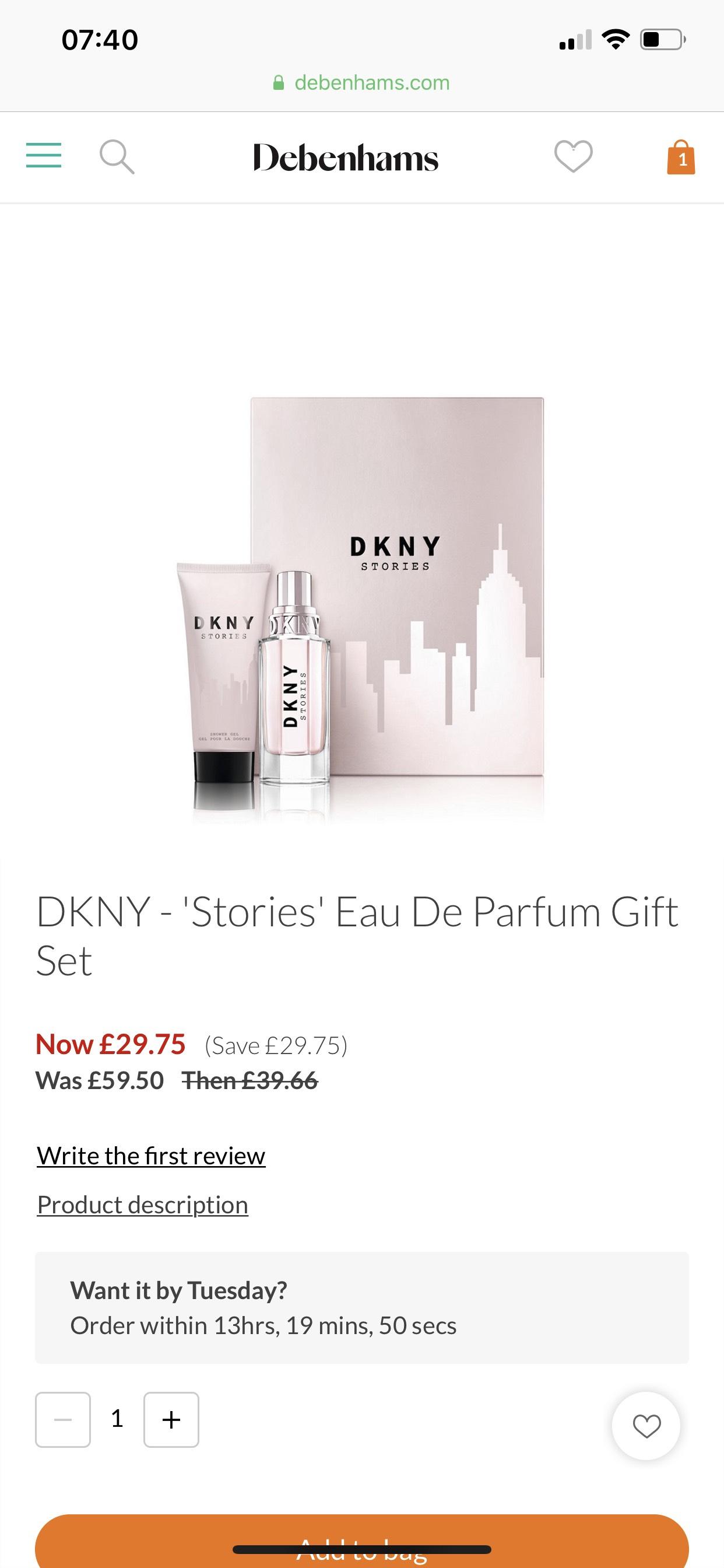 Dkny Stories Eau De Parfum 50ml Gift Set 2975 Debenhams