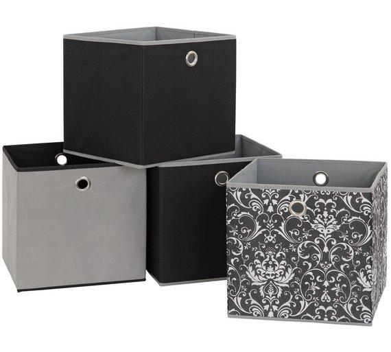 4 x woven storage boxes monochrome grey black. Black Bedroom Furniture Sets. Home Design Ideas