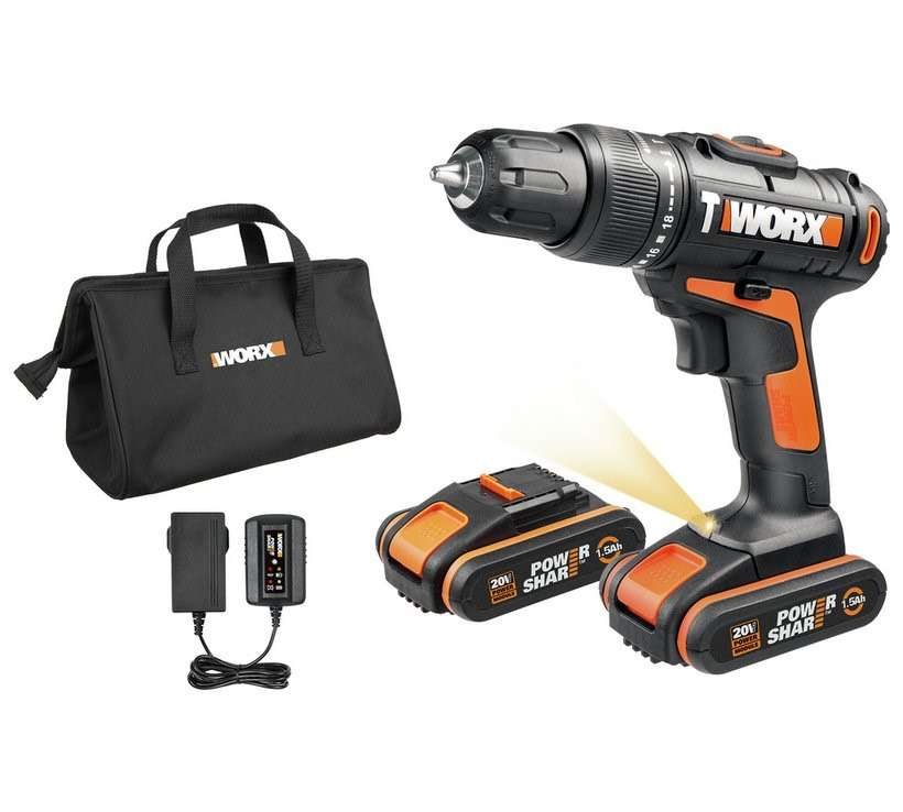 worx cordless hammer drill with 2 20v batteries. Black Bedroom Furniture Sets. Home Design Ideas