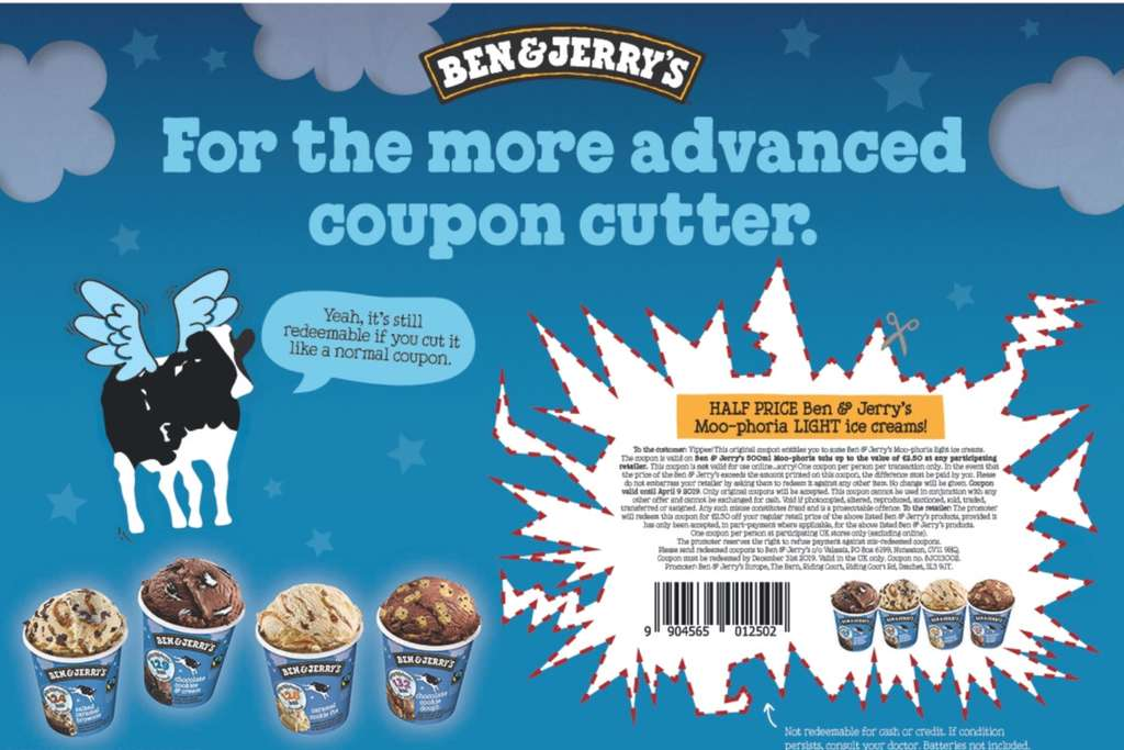 photograph relating to Ben and Jerry's Printable Coupons named No cost BEN JERRY MOO-PHORIA Mild ice product (Printable