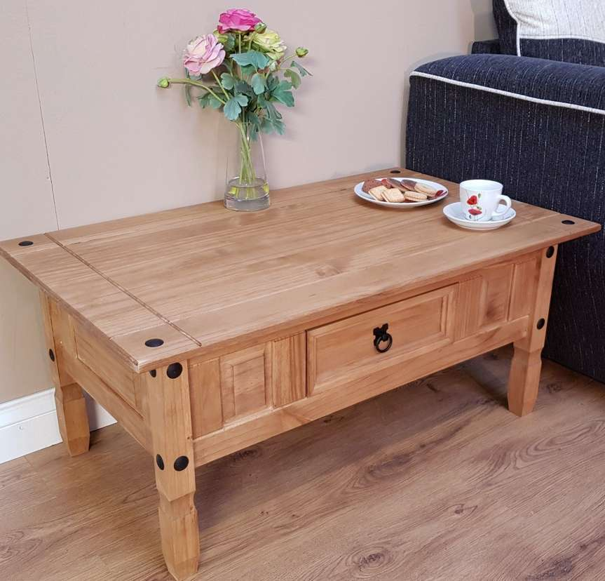 Corona Coffee Table Mexican Solid Pine 1 Drawer 1 Year
