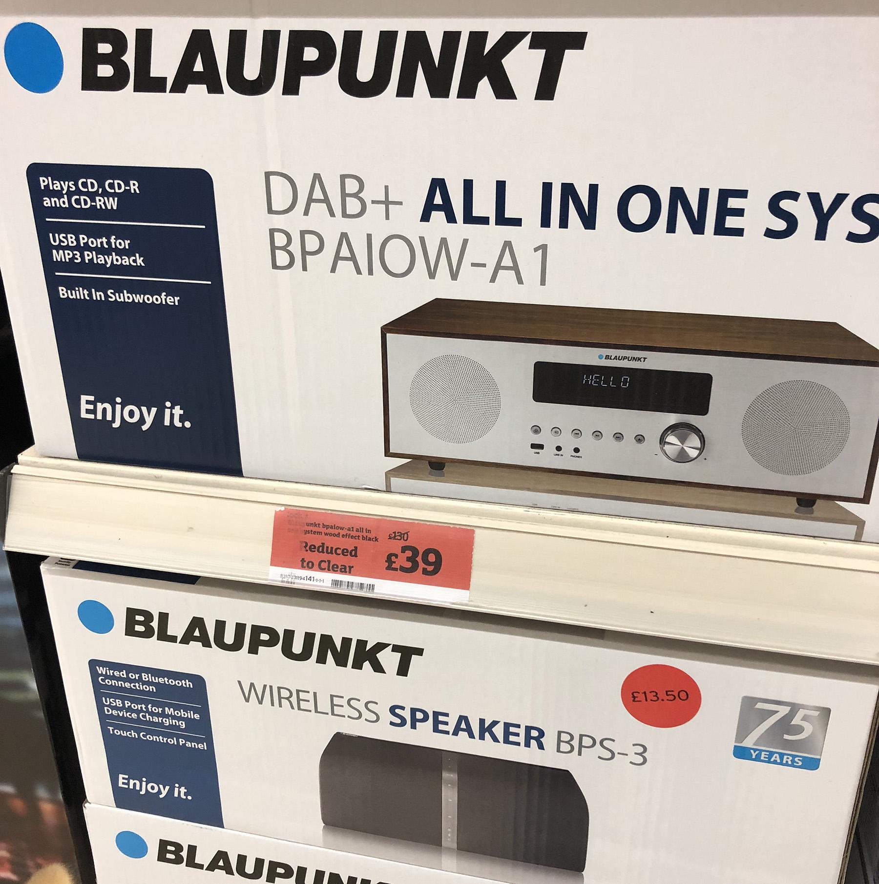 Blaupunkt All In One System CD Player DAB FM Radio (BPAIOW