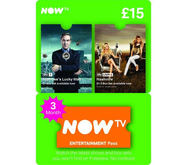 18d29597c75 Now TV 3 month Entertainment Pass   Code £12   GAME also 5 months for £20 -  hotukdeals