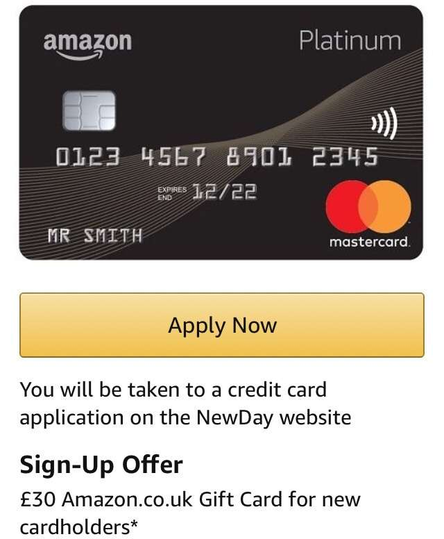Free 30 Amzon Voucher With Amazon Credit Card If You Sign Up To A