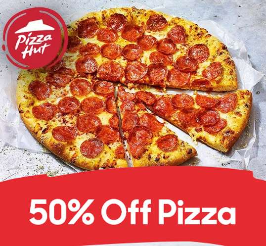 The Hut Group Food: 50% Off Pizza When You Spend £15 @ Pizza Hut Delivery