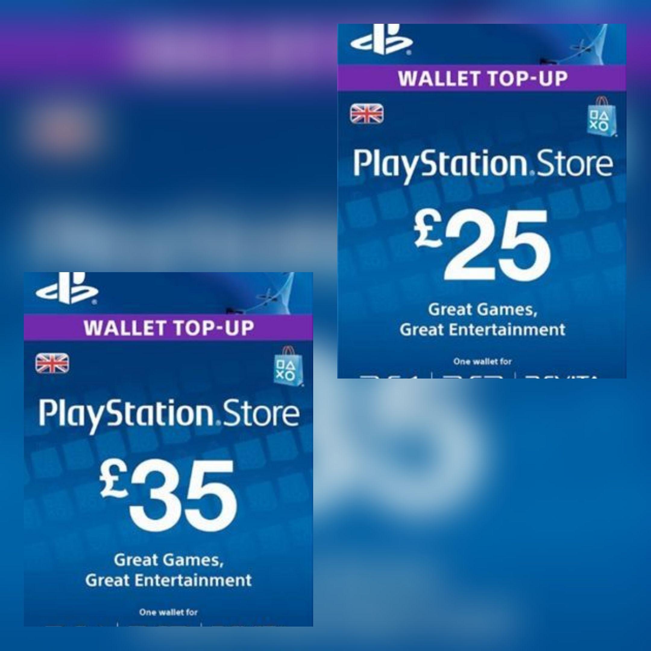 25 PlayStation PSN Card UK £21 02 // £35 PSN Card £29 70