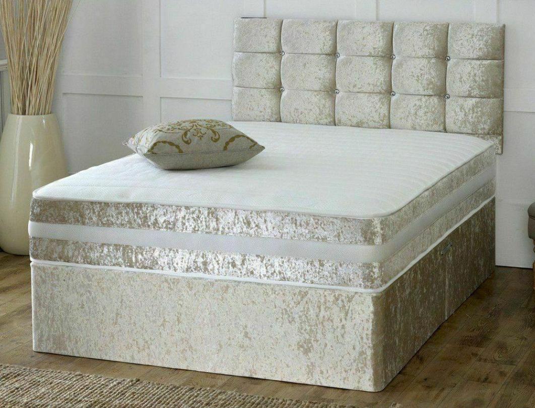 finest selection 11968 d0953 CRUSHED VELVET DIVAN BED + MATTRESS + HEADBOARD Small Single ...