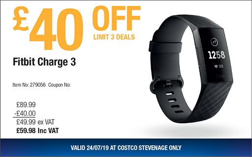 Fitbit Charge 3 - £59 98 @ Stevenage Costco - hotukdeals