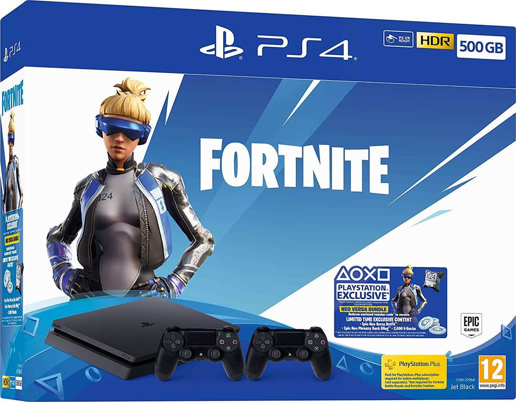 Neo Versa 500GB PS4 fortnite bundle + extra controller £229 99
