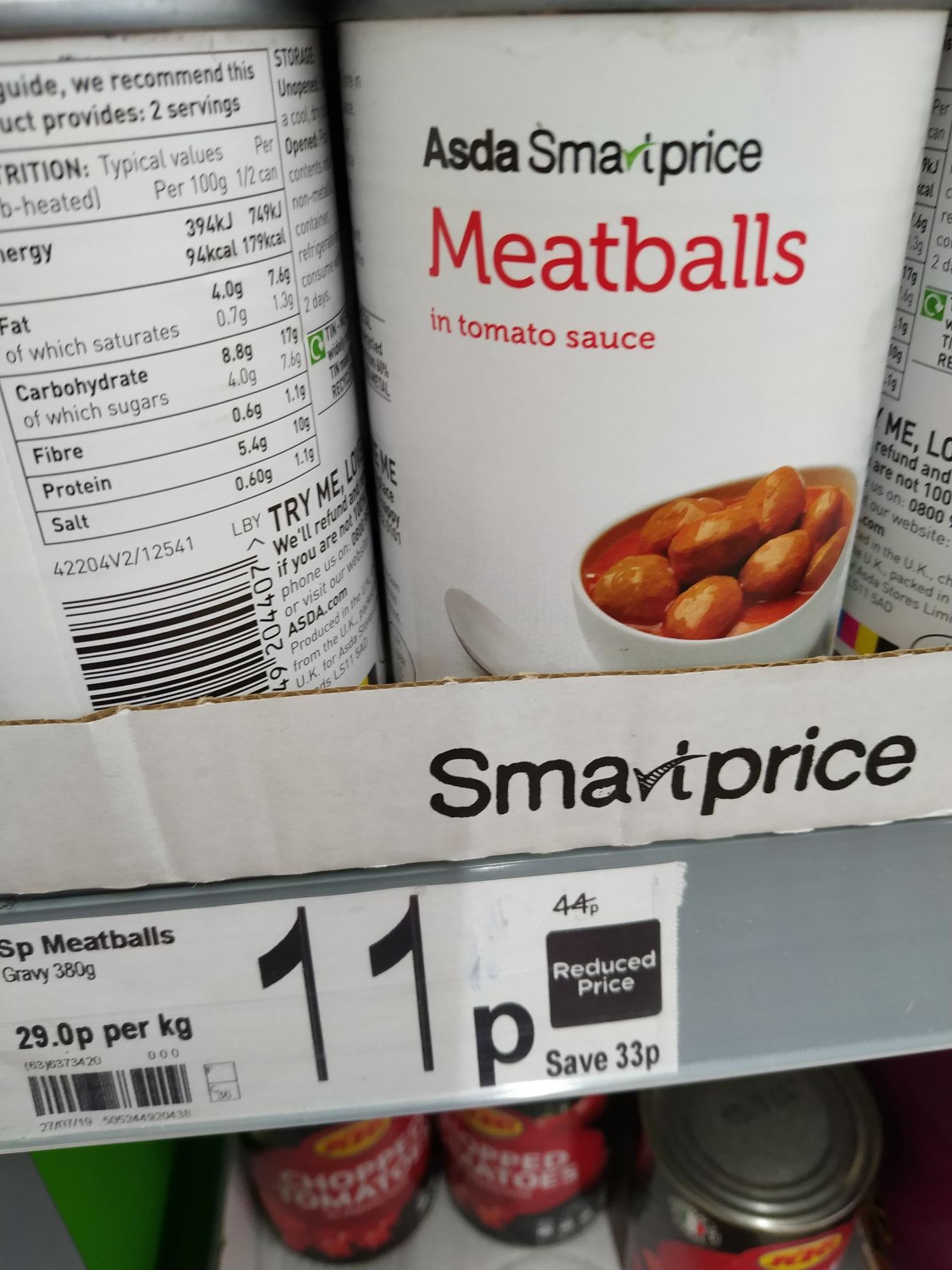 Asda Smartprice Meatballs 11p At Asda Instore Hotukdeals