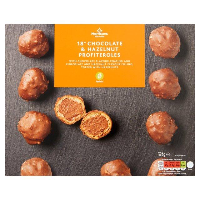 Morrisons 18 Chocolate Hazelnut Profiteroles 324g