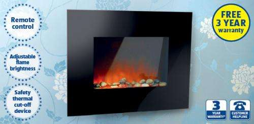 wall mounted pebble fire 1800w reduced to aldi. Black Bedroom Furniture Sets. Home Design Ideas