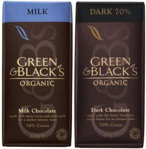 100g Green & Black's milk and 70% dark chocolate reduced to 50p a bar