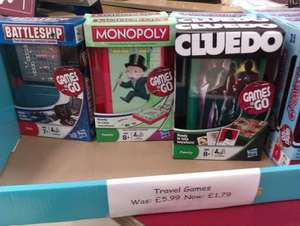Hasbro Travel Games reduced from £5.99 to £1.79 Instore at Sainsburys