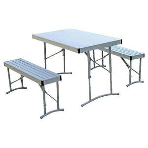 Aluminium Table with 2 Benches. £19 Reserve and Collect or £24.00 Delivered @ Tesco Direct