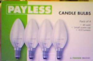 Pack of four candle lamp bulbs (40w SES) for 69 pence at Home Bargains