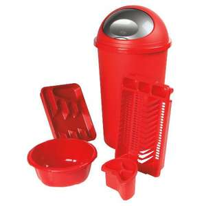 Red Kitchen Bundle: 45l Bullet Bin, Bowl, Dish Drainer, Cutlery Drainer & Tray - £16 @ Tesco Direct (Collect Instore)