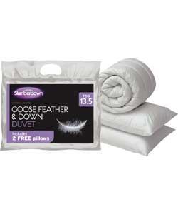 Slumberdown Goose Feather Single Duvet with Free Pillows - Argos - £39.99