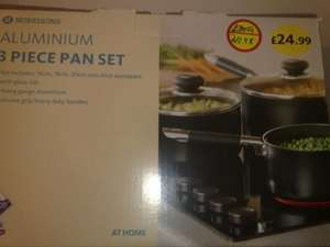 Morrisons 3 pice aluminum pan set was £24.99 Now reduce to £12,98 instore
