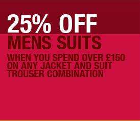 40% off all Suits over £150 at Marks and Spencer with Free Next Day delivery plus Cashback (From £94.50)