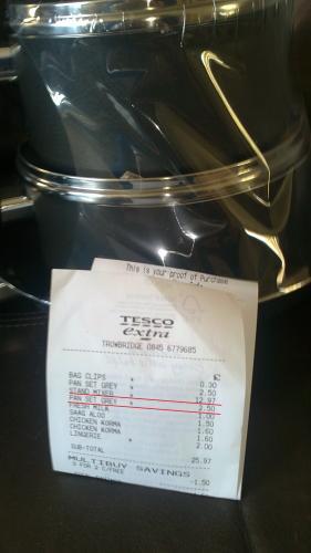 3 piece pan set non-stick aluminium - reduced to £2.50 from £10.00 @ Tesco