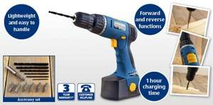 18V Cordless Drill with 1 hr fast charge / Accessory set   & 3 year warranty £19.99 at Aldi