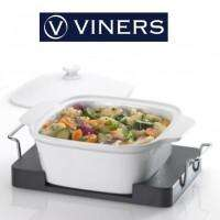 White 28cm casserole dish with wooden serving tray - £15.12 Delivered @ Viners with code