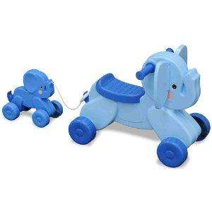 Mookie Blue Elephant: Trunk the Elephant Ride-on and Lil Squirt Pull-along toy was £38 now only £9.69 delivered @ Debenhams