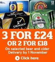 Beer & Cider - 2 cases for £18 / 3 for £24 @ Sainsburys