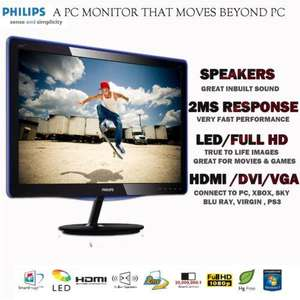 "Philips 227 E Line 21.5"" LED FULL HD 16:9 Widescreen Monitor 1080P HDMI DVI/VGA In Built Speakers 2 Year On Site Warranty £99.98 Delivered By Ebay Dabs"