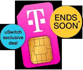 300min Unlim TxT 1GB Data T-Mobile Sim Only Deal @ uswitch