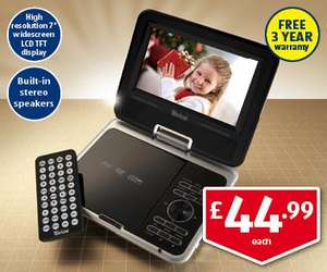 Portable DVD player @ Aldi - ONLY £44.99 including 3 year warranty