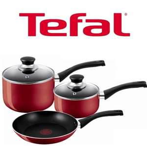 TEFAL BISTRO NON-STICK 3 PIECES SET COOKSET red @ Home Bargains £ 19.99