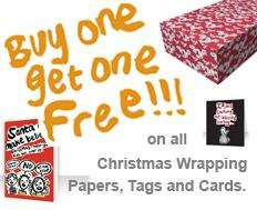 BOGOF on all Christmas wrapping, tags and cards @ Rude Wrappings