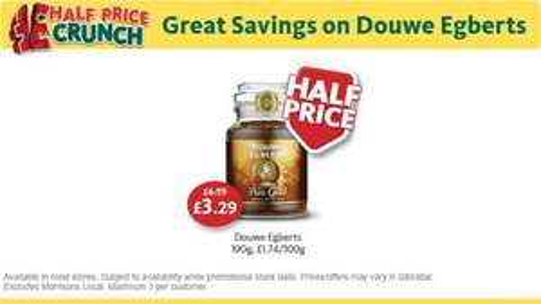 Douwe Egberts coffee 190g half price! @  Morrisons