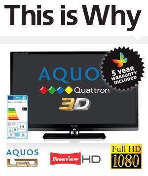 "Sharp 46"" LC46LE831E Quattron 3D LED TV £699 inc del & 5 year guarantee"