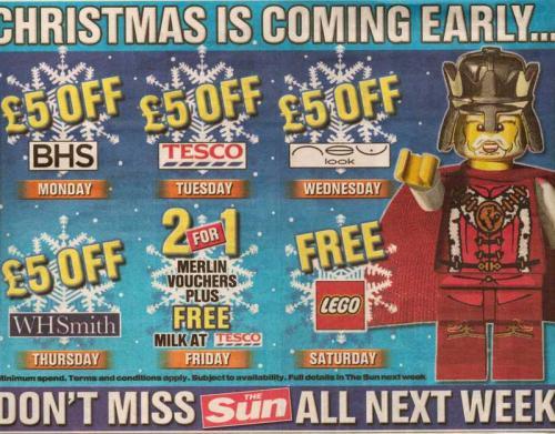 Sun freebies all week including - LEGO toy, Milk & £5 OFF