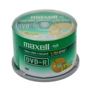 Maxell Blank DVD-R 16X 50pk Spindle@play.com £6.99