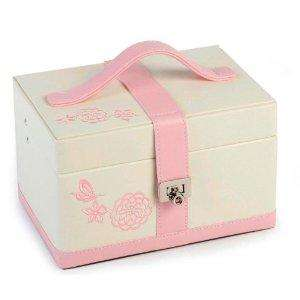 "Amazon offer - Jewellery Box ""Butterfly / Flowers"" Embroidered Pattern Cream / Pink £12"