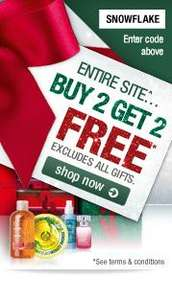 Buy 2 get 2 Free on the entire site (excludes gifts) @ The Body Shop using code snowflake