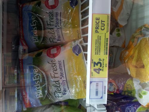Birdseye Field Fresh Family Steamer Broccoli Florets, Carrots & Sweetcorn 480g WAS £2.00 now 43p @ TESCO instore