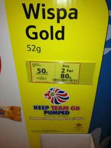 Wispa Gold. 50p each or 2 for 80p in store at Tesco