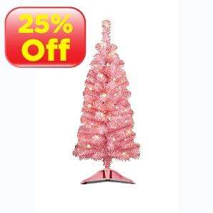 3ft Pre-Lit Christmas Trees in Pink, Blue, Green or Black now reduced from £5 to £3.75 in Asda