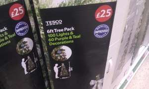 6ft green christmas tree with lights & decorations - £12.50 @ Tesco