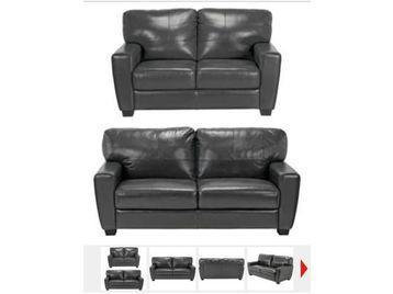 Vittorio Leather Regular Sofa - Black @ Argos  2 for £474.99
