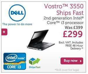 Dell Vostro 3550, i3-2330M, 2GB memory, 250GB hard disk, £382 inc P&P @Dell